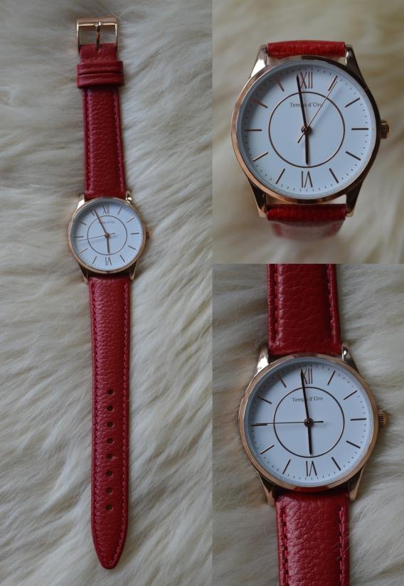 Tchibo rote Armbanduhr
