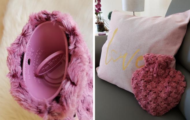 Diese rosa Herz-Wärmflasche mit abnehmbarem Plüschbezug ist zum Einkuscheln gemacht