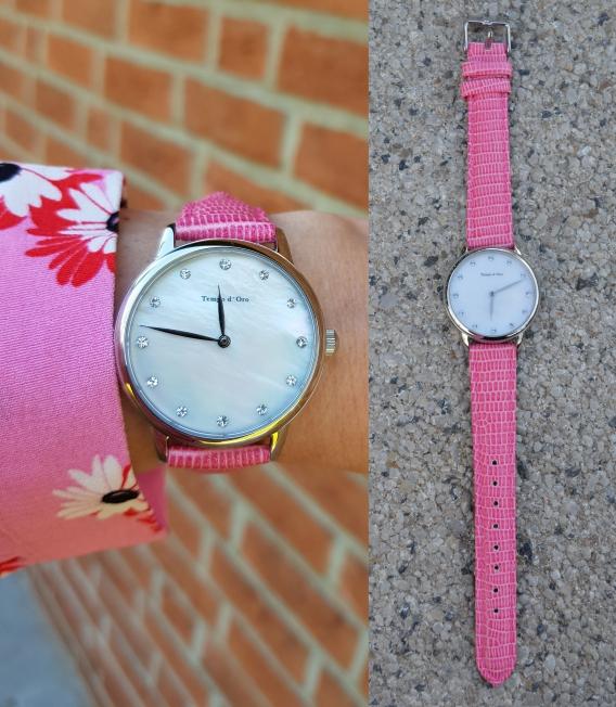 Eine tolle Idee ist diese Damenuhr mit 2 wechselbaren Lederarmbändern
