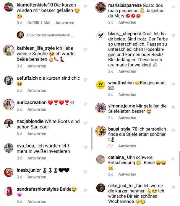 Kommentare, die mich auf Instagram