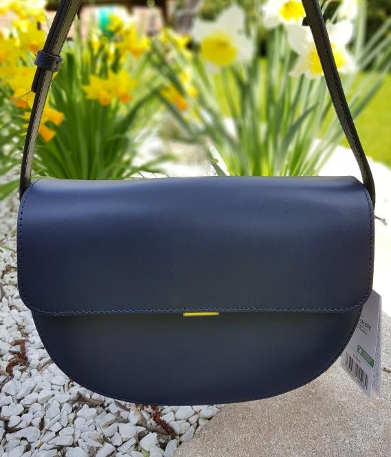 Dunkelblaue Lederhandtasche Saddle Bag