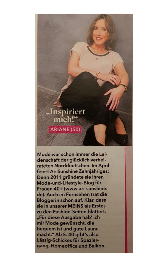 Ari Sunshine in der Zeitschrift Meins für Frauen ab 50 Jahren
