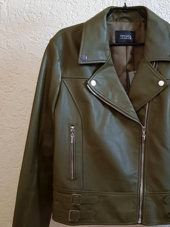 Bikerjacke aus echtem Leder in der Farbe Khaki C&A